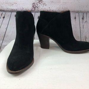 Lucky Brand Eesa Booties black suede stacked heel